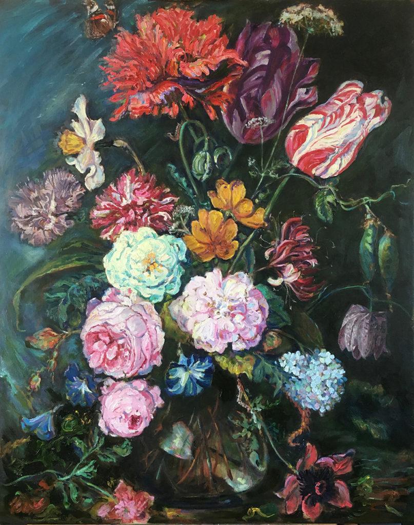 schilderij bloemen in glazen vaas