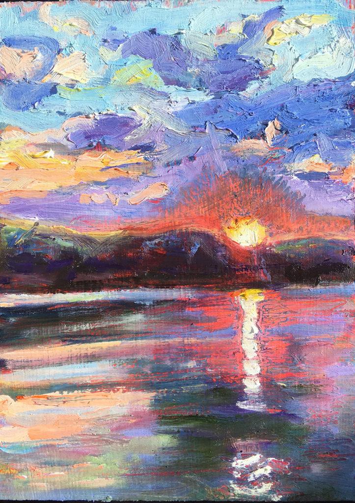 schilderij landschap zonsondergang, water, berg, wolken