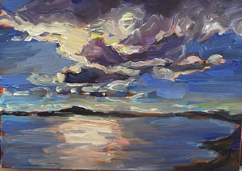 schilderij landschap, water en wolken, licht