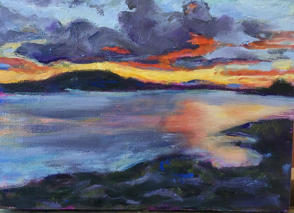 schilderij landschap, water, berg, wolken, licht