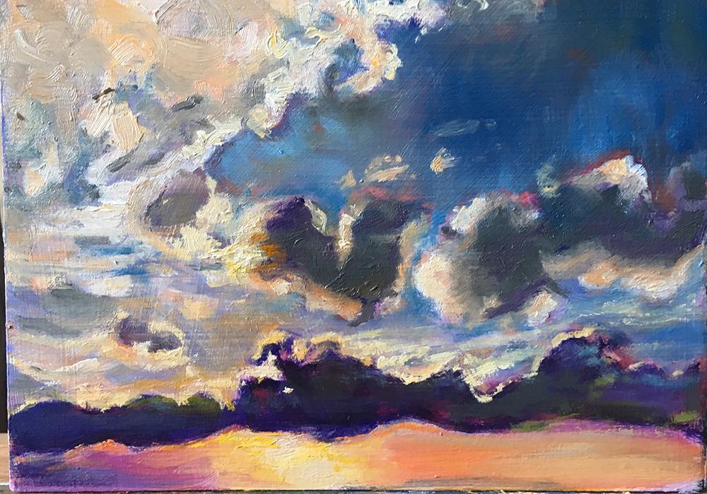 schilderij landschap water, zon, wolken, zon