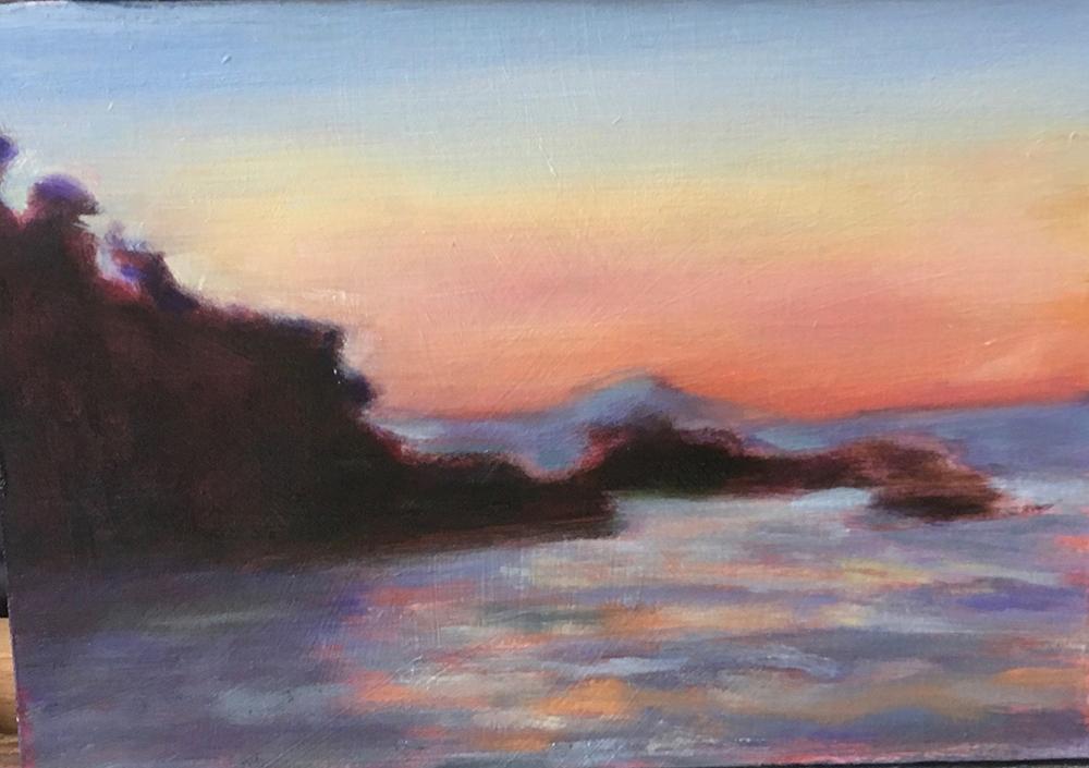 schilderij landschap, water, rots, licht