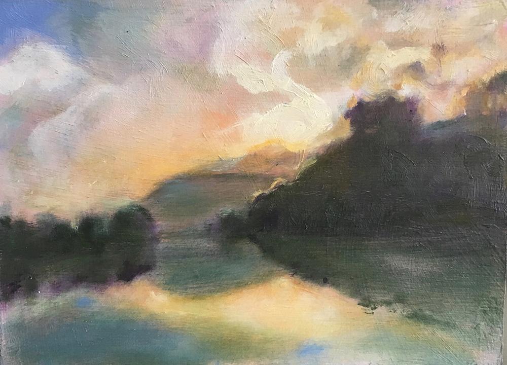 schilderij landschap water, bergen, licht