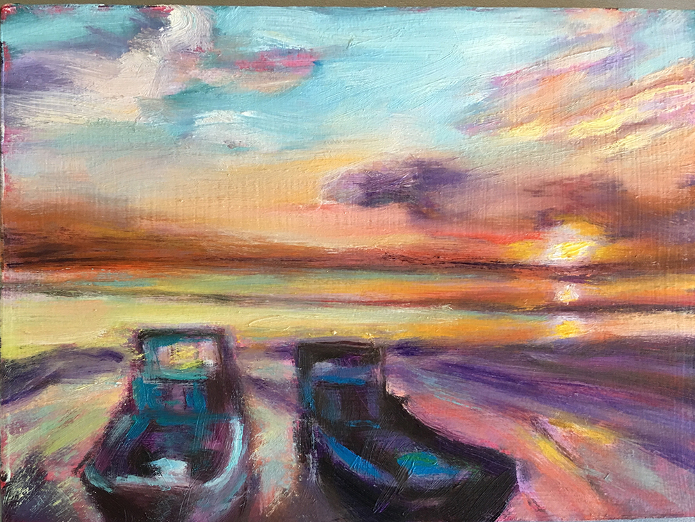 schilderij twee boten op water, zon horizon