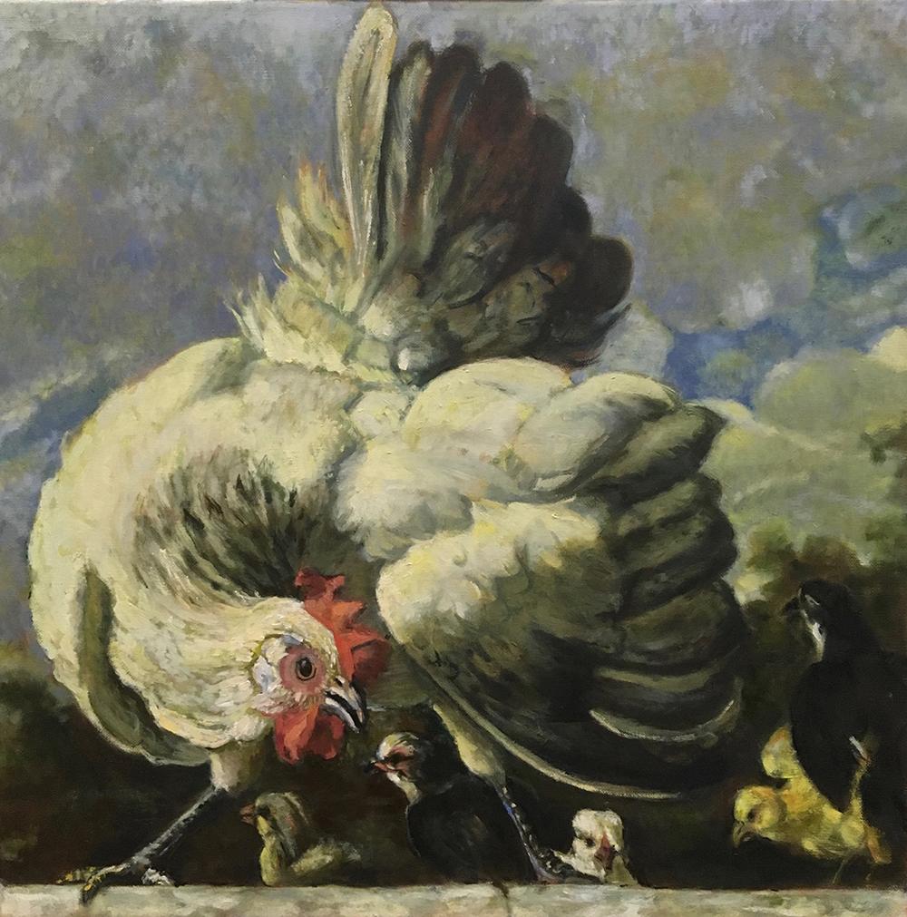 schilderij kloek met kuikens