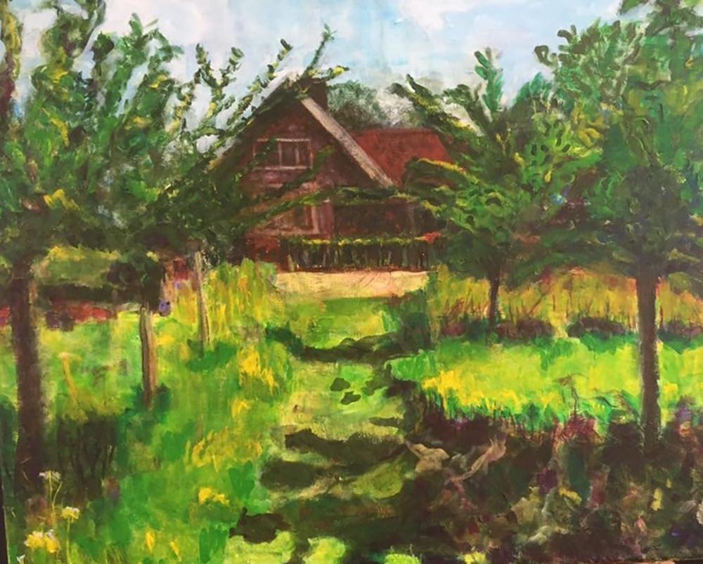schilderij huis aan het einde van dreef met bomen in groen landschap