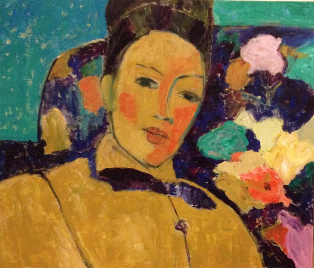 schilderij portret vrouw haar opgestoken gele jas