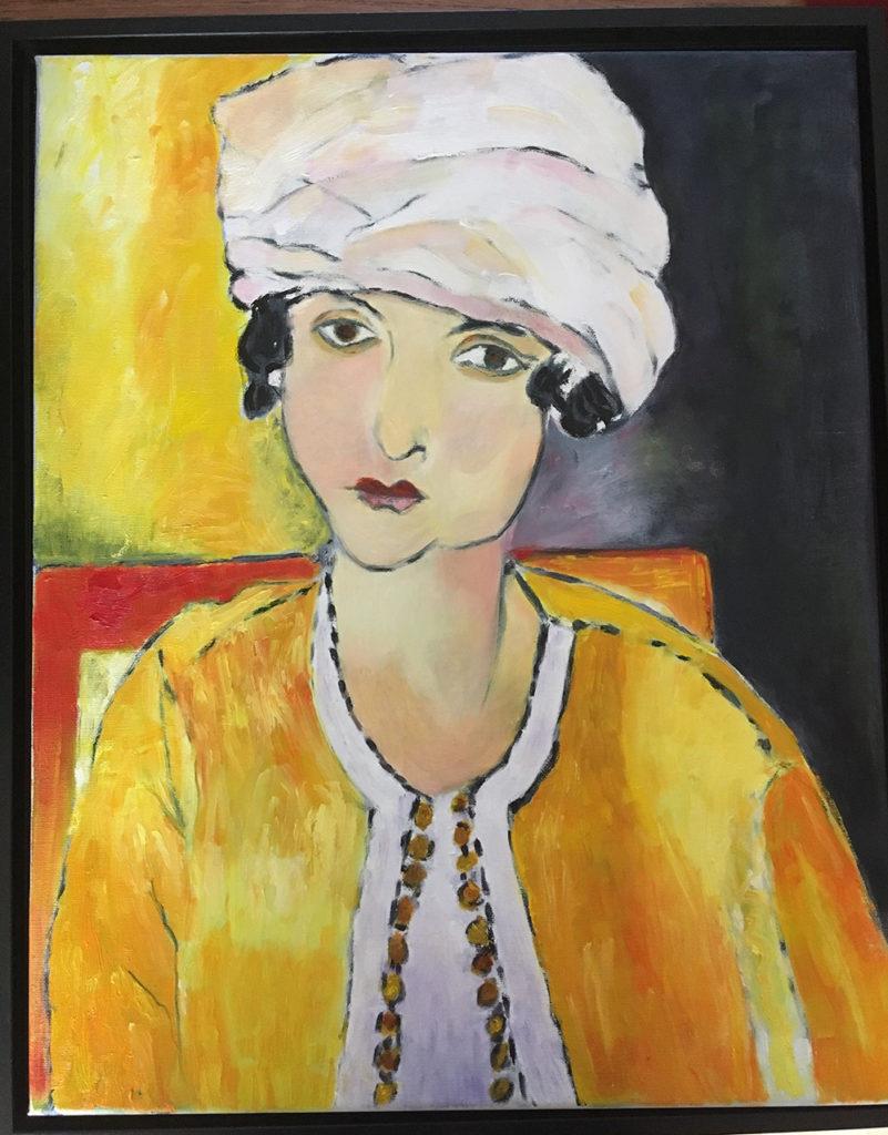 schilderij portret vrouw gele jas witte hoed