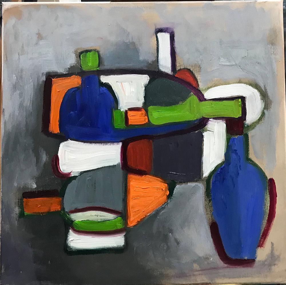 schilderij flessen abstract