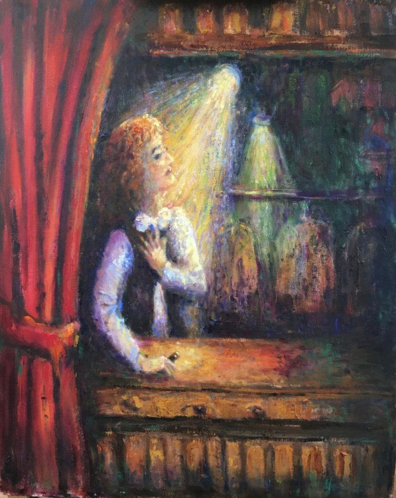 illustratie man in de schijnwerper achter rood gordijn