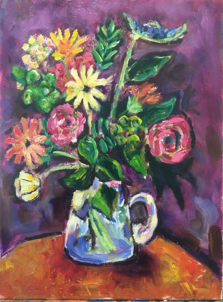 schilderij bloemen in vaas
